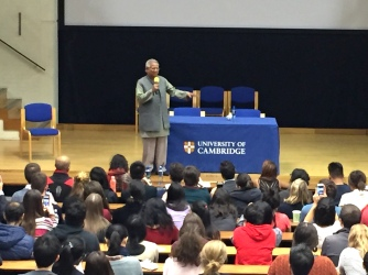 Professor Mohammad Yunus gave an address at Lady Mitchell Hall, University of Cambridge